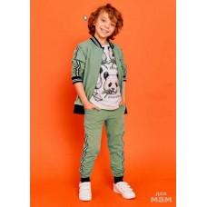 Комплект джемпер, футболка, брюки  оливковый/серый