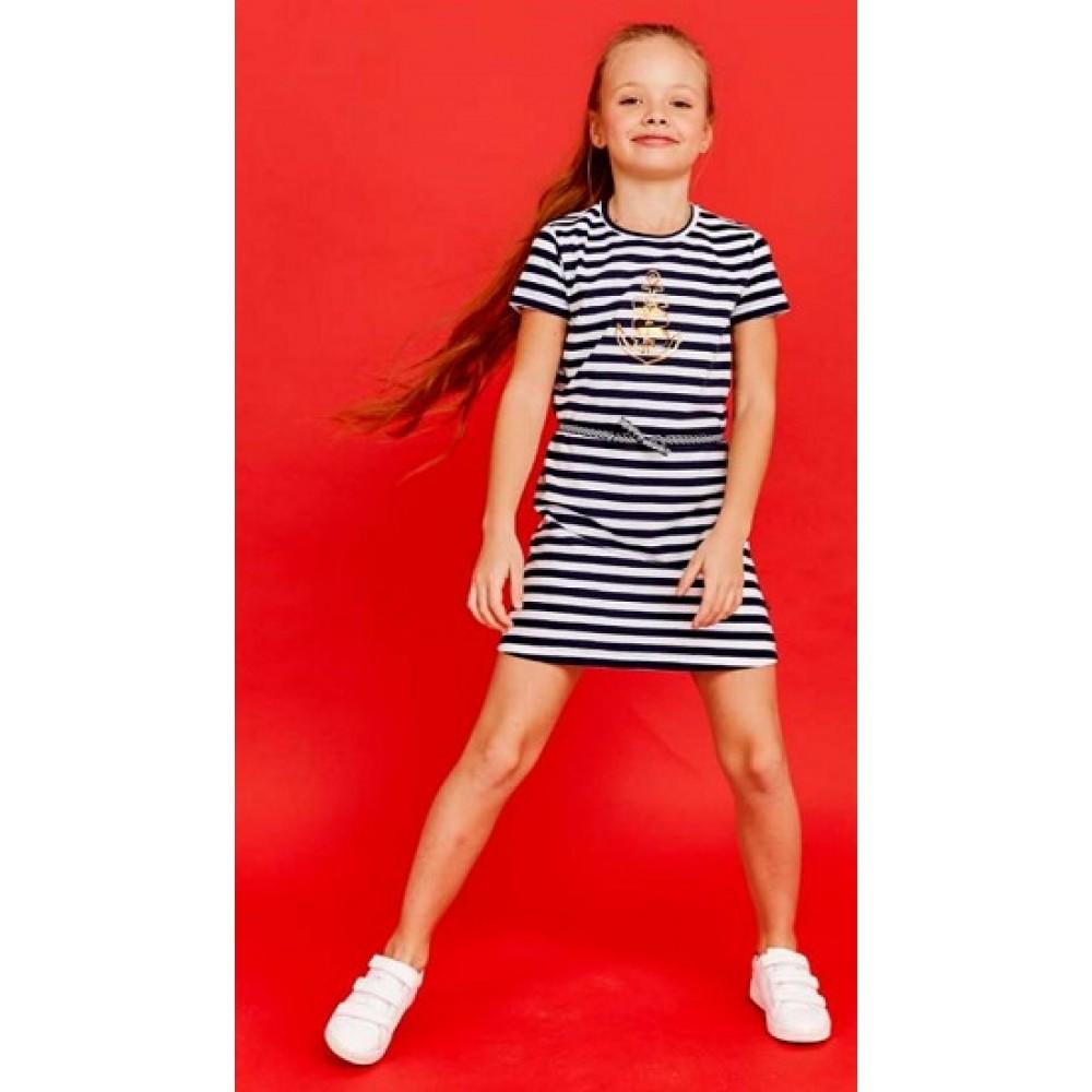 Платье д/дев Juno E38014-45COZ Summer сине-белая полоска