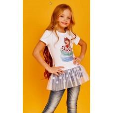Платье  Juno SS21GJ512  Happy Summer белый/горох