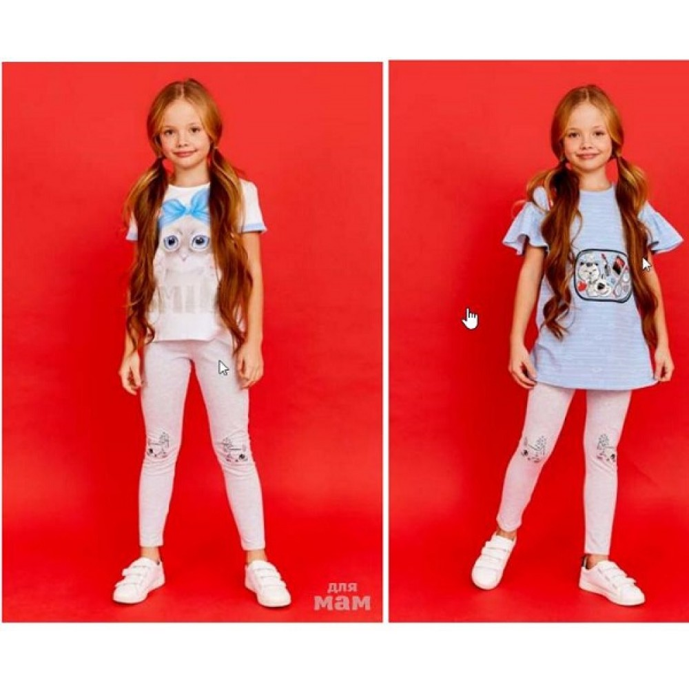 Лосины  Juno SS21GJ518 Happy Summer светло-серый меланж