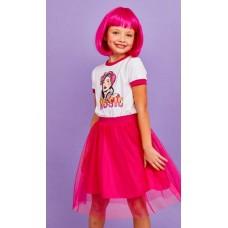 Платье Juno SS21GJ532 Sweet Rainbow белый/ярко-розовый