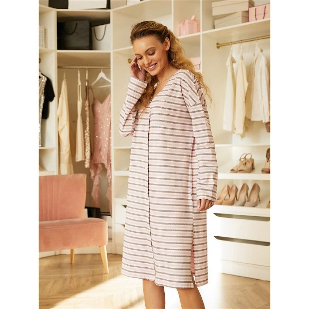 Халат ночной жен Mia Cara AW20WJ344 Pink Puff розовый/полоса