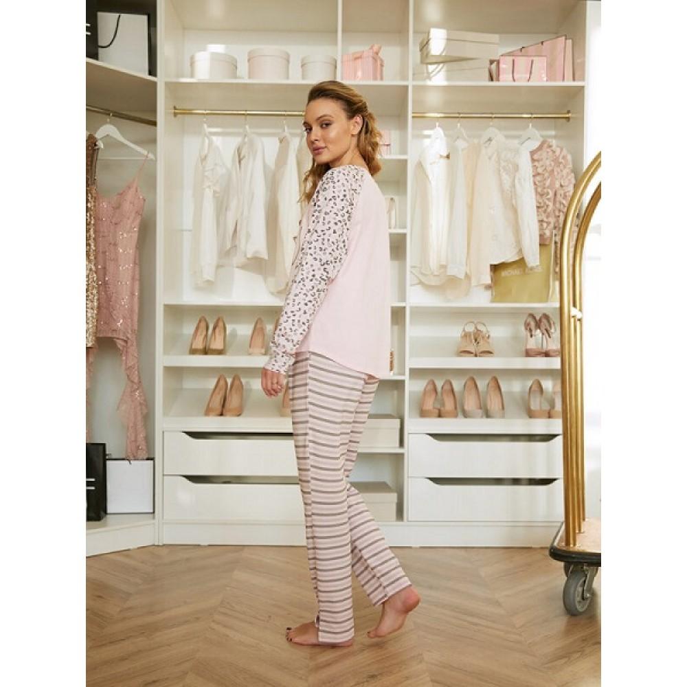 Комплект фуфайка (футболка) д/рук, брюки жен Mia Cara AW20WJ350 Pink Puff