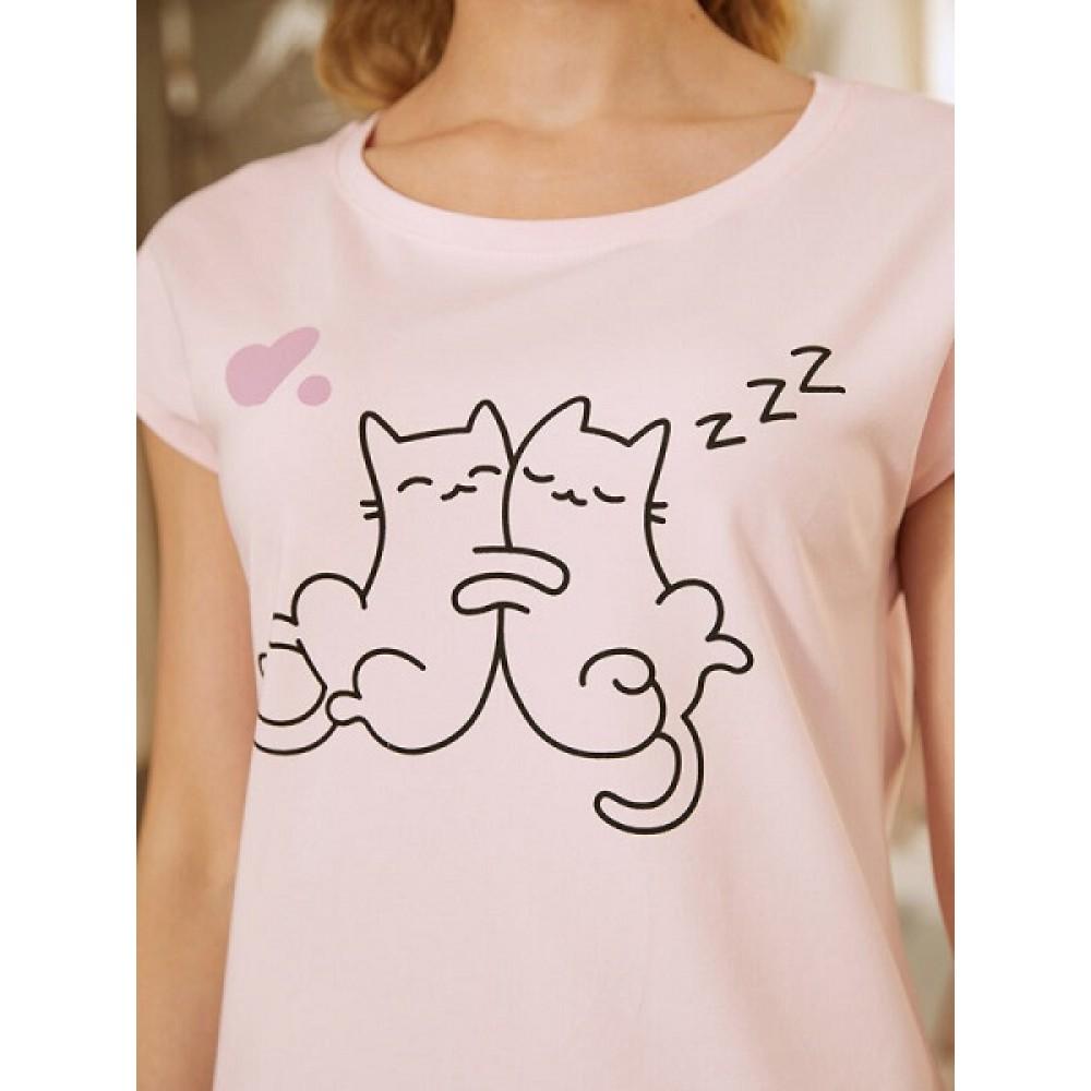 Комплект фуфайка (футболка), шорты жен Mia Cara AW20WJ354 Pink Puff розовый/серый