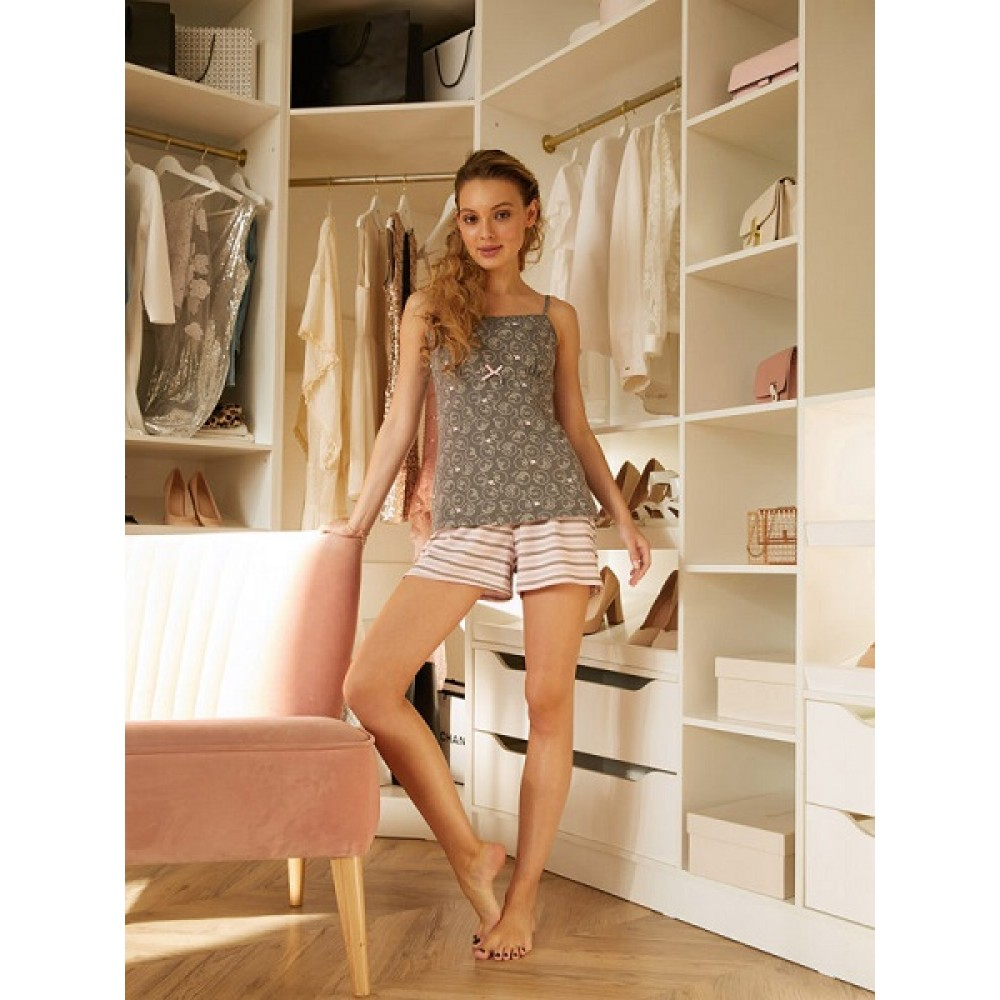 Комплект майка, шорты жен Mia Cara AW20WJ355 Pink Puff розовый/серый