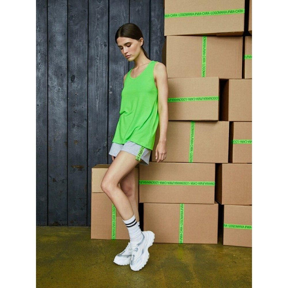 Комплект майка, шорты жен Mia Cara AW20WJ331 Logomania белый/черный/салатовый