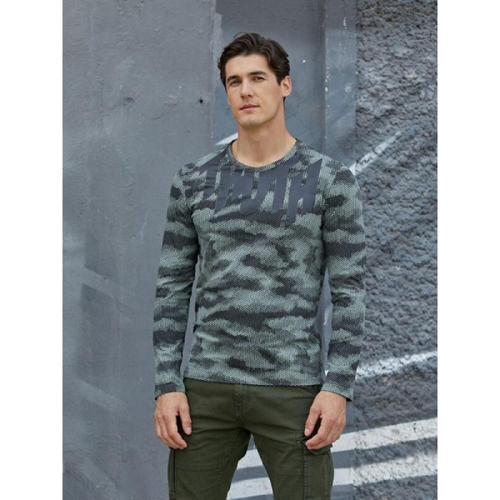 Фуфайка (футболка) д/рук муж  AW20MJ259  пыльно-зеленый