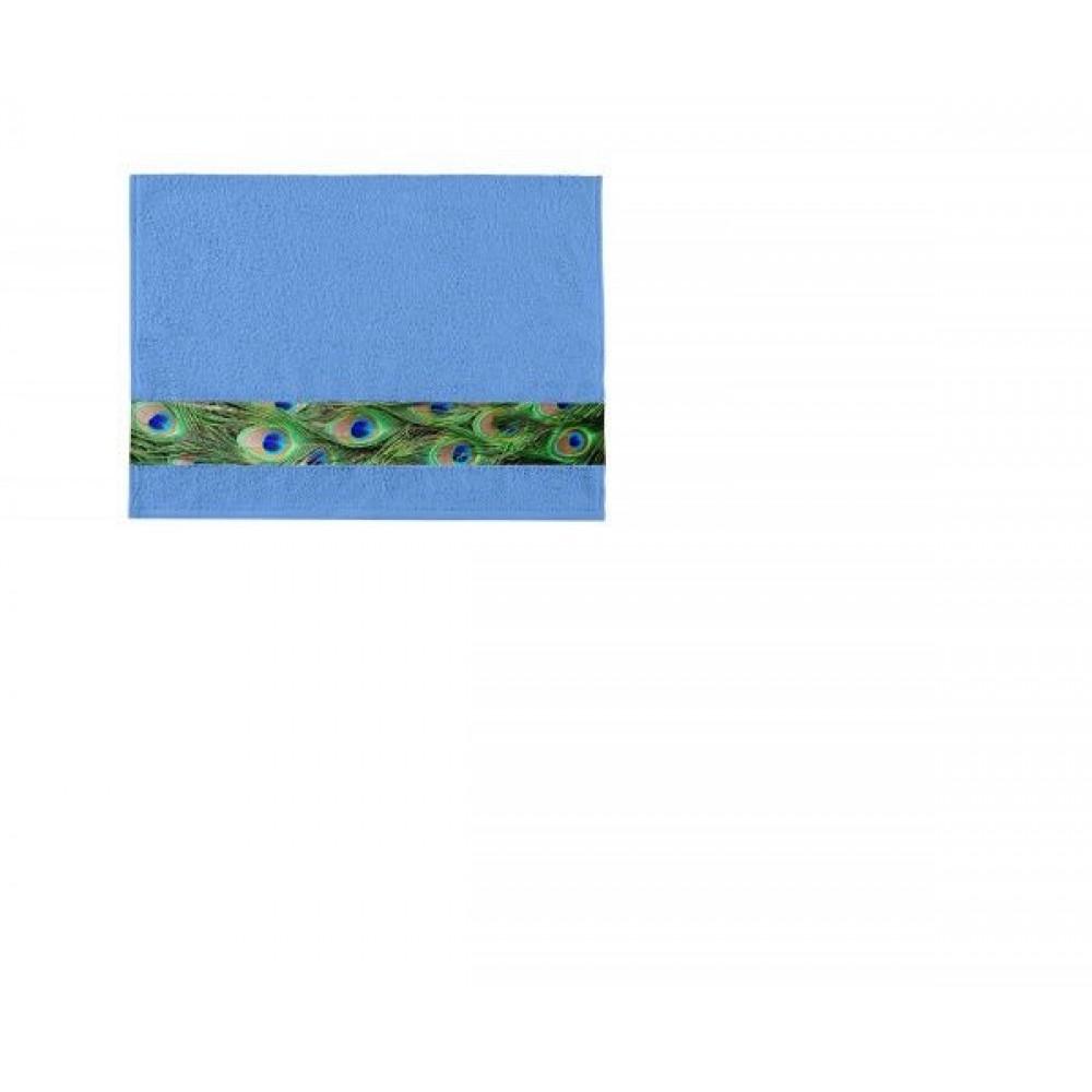 Полотенце Aquarelle Фотобордюр павлин спокойный синий