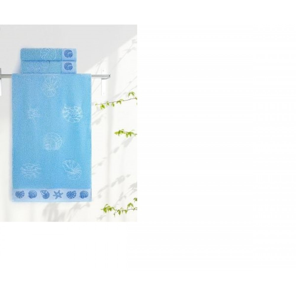 Полотенце Aquarelle Ракушки светло-васильковый