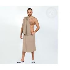 Набор для бани и сауны мужской  бежевый