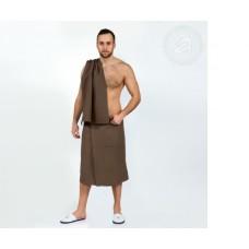 Набор для бани и сауны мужской  коричневый