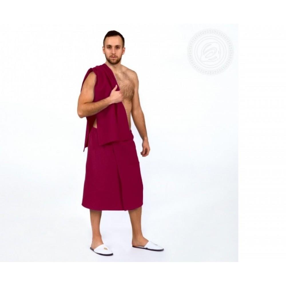 Набор для бани и сауны мужской  бордо