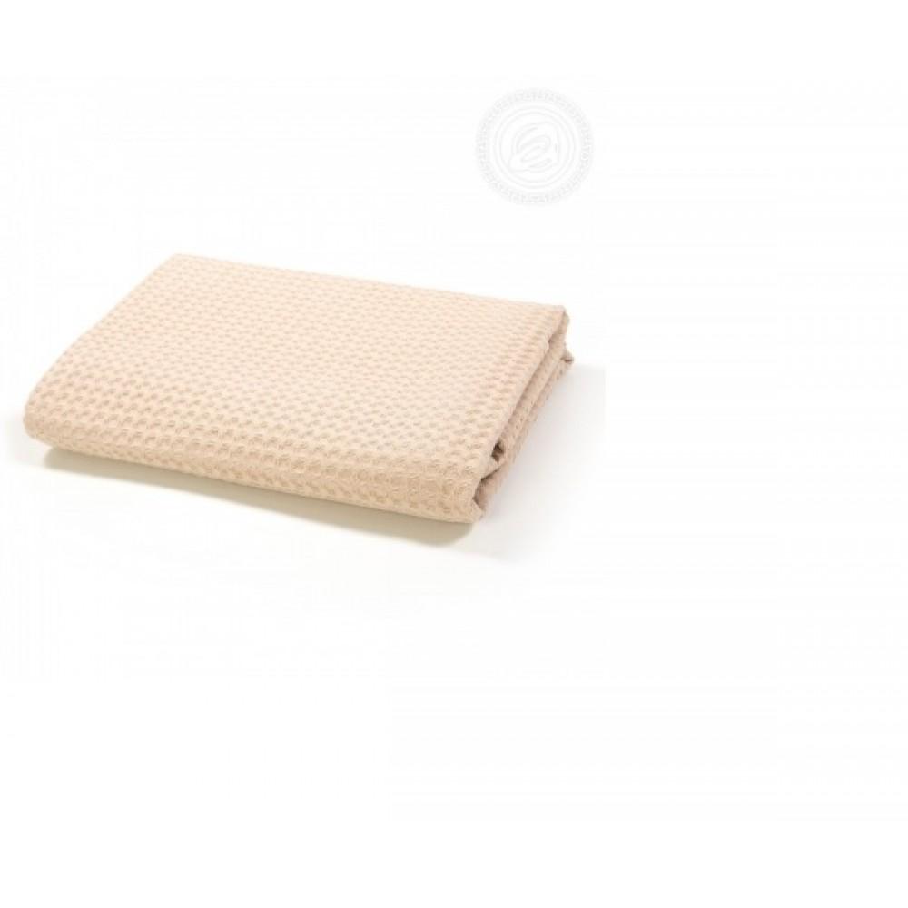 Полотенце вафельное  банное 70х140 см. Бежевое