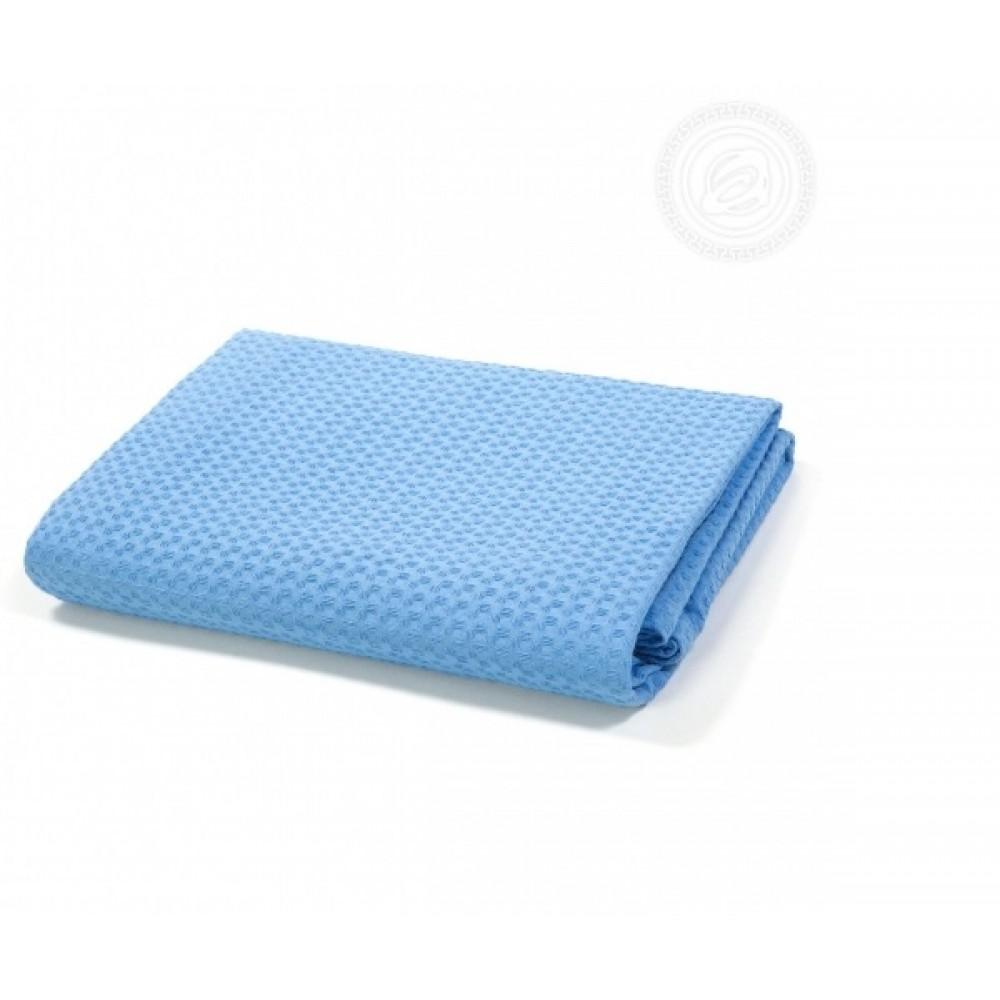 Полотенце вафельное банное 70х140 см. Голубое